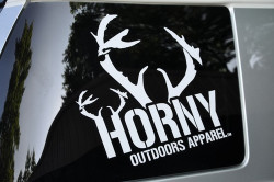 Horny Outdoors Apparel Large Sticker- Center Antlers