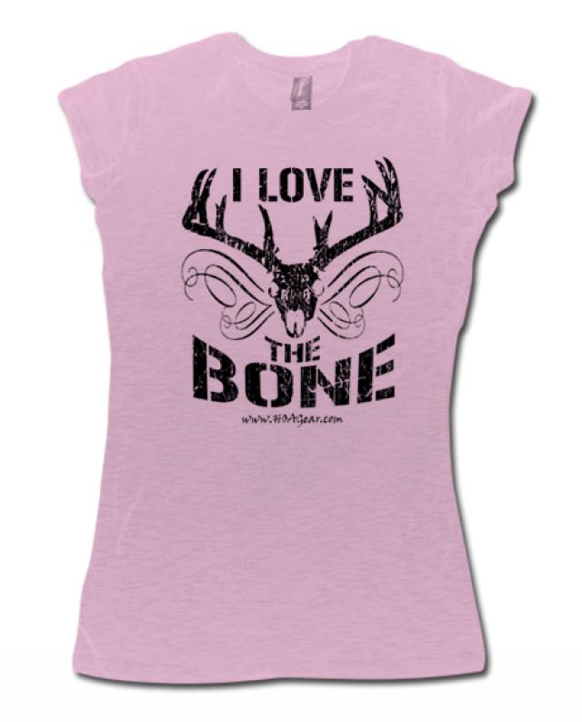 HOA Ladies Pink Cap Sleeve Tee- I Love the Bone