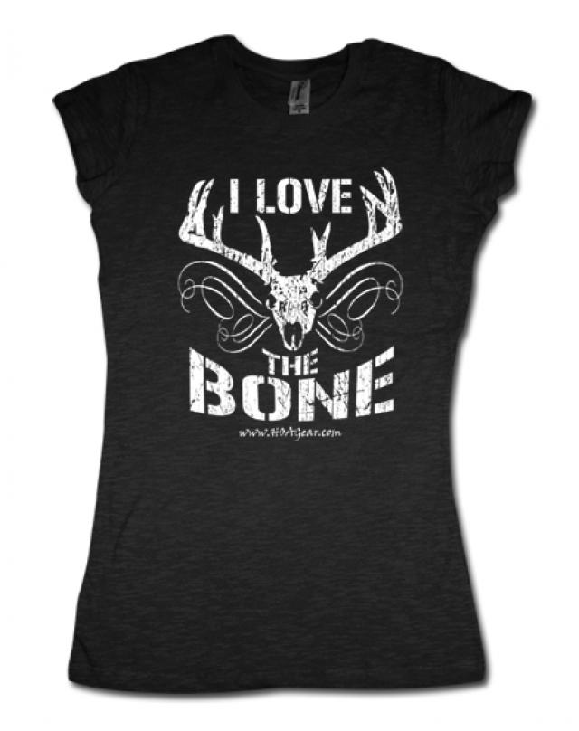 HOA Ladies Black Cap Sleeve Tee- I Love the Bone