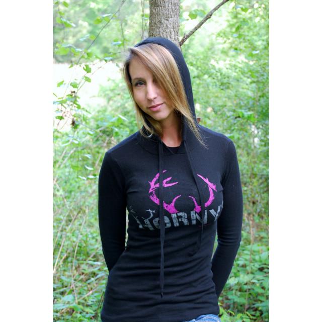 HOA Ladies Black w/Pink Antlers Thermal Hoodie