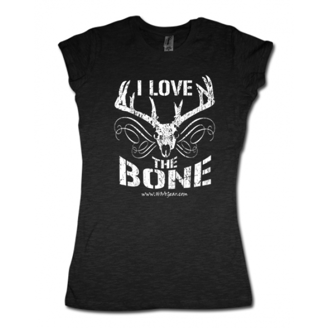 HOA Ladies Black Cap Sleeve Tee- I Love the Bone
