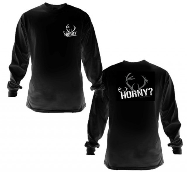 HOA Horny? Long Sleeve Black Tee- Center Antlers